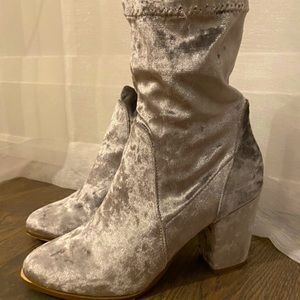 Light Grey Velvet Heeled Booties